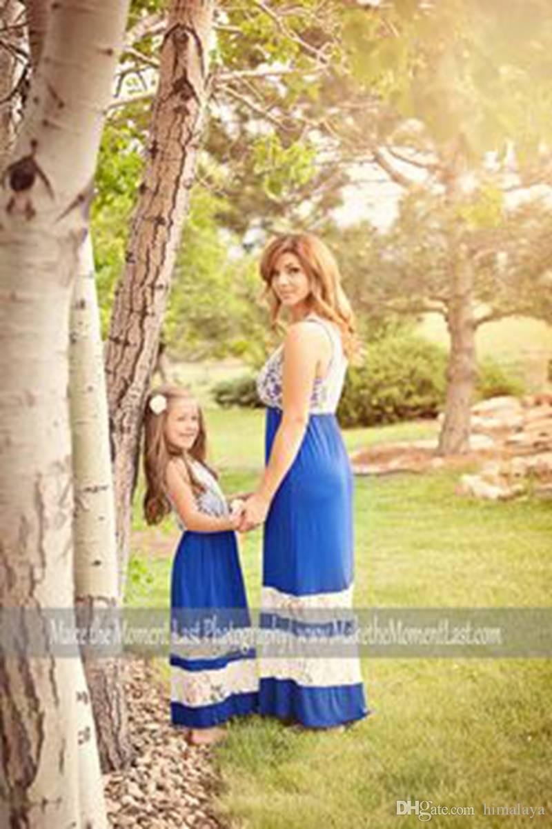 2017 Family Matching Outfits Mother And Daughter Summer Sleeveless Dresses Lace Pactwork Dress Kids Parent Child Outfits