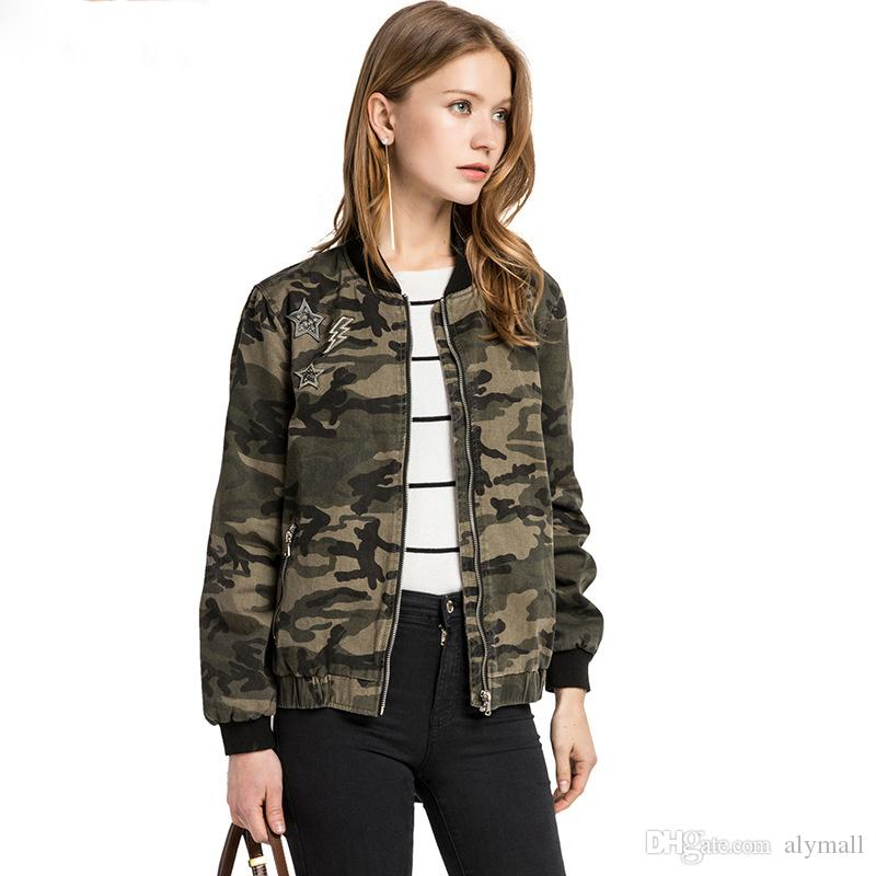 0ff9caa62f6 Military Jacket Women Fashion 2017 Army Green Denim Bomber Jackets Women  Cami Print Jacket Basic Veste Jeans Jacket Femme Black Jacket Fleece Jackets  From ...