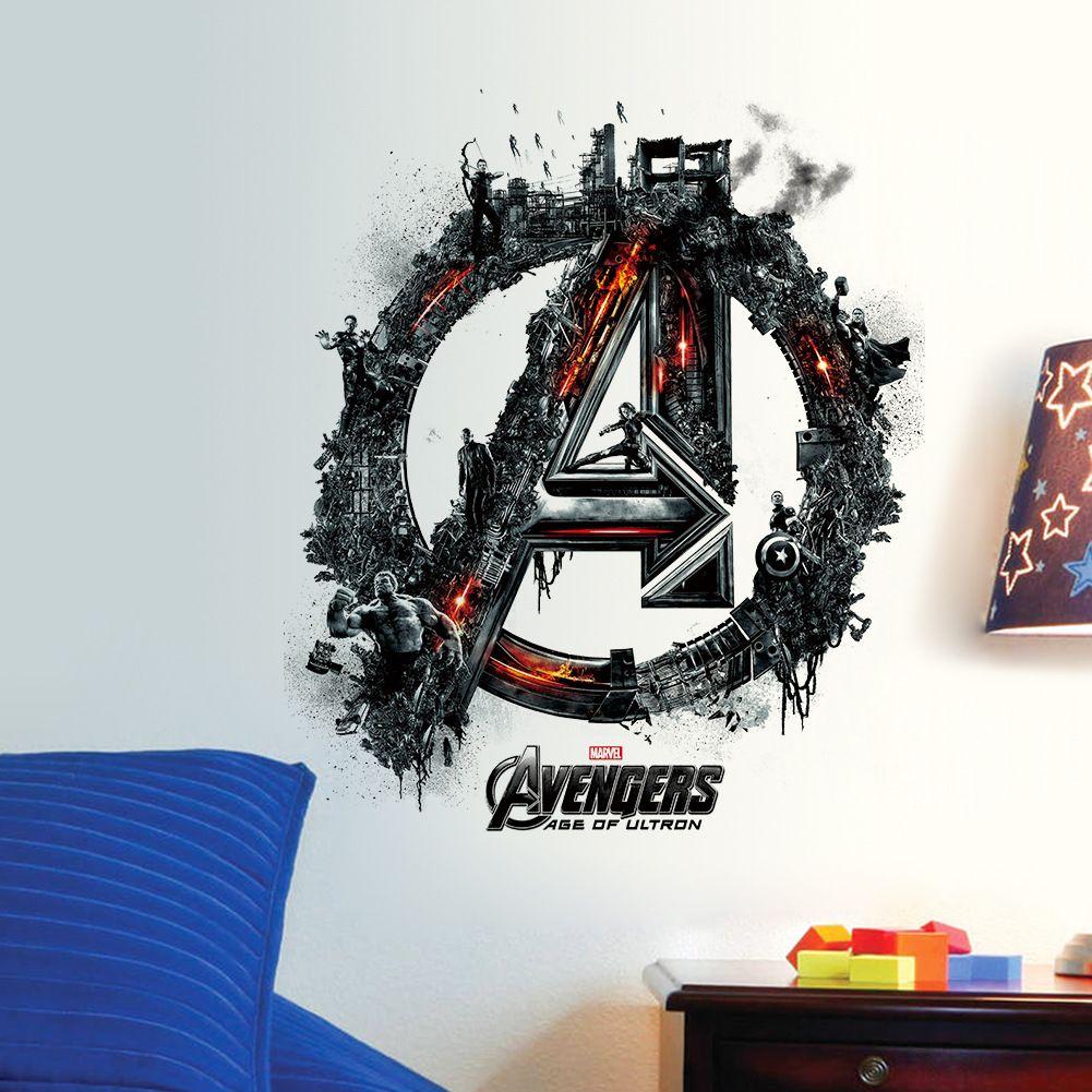 The Avengers 3D Wall Sticker 42*35cm Superhero Wall Art Mural for Kids Room Boys Room Wall Decor