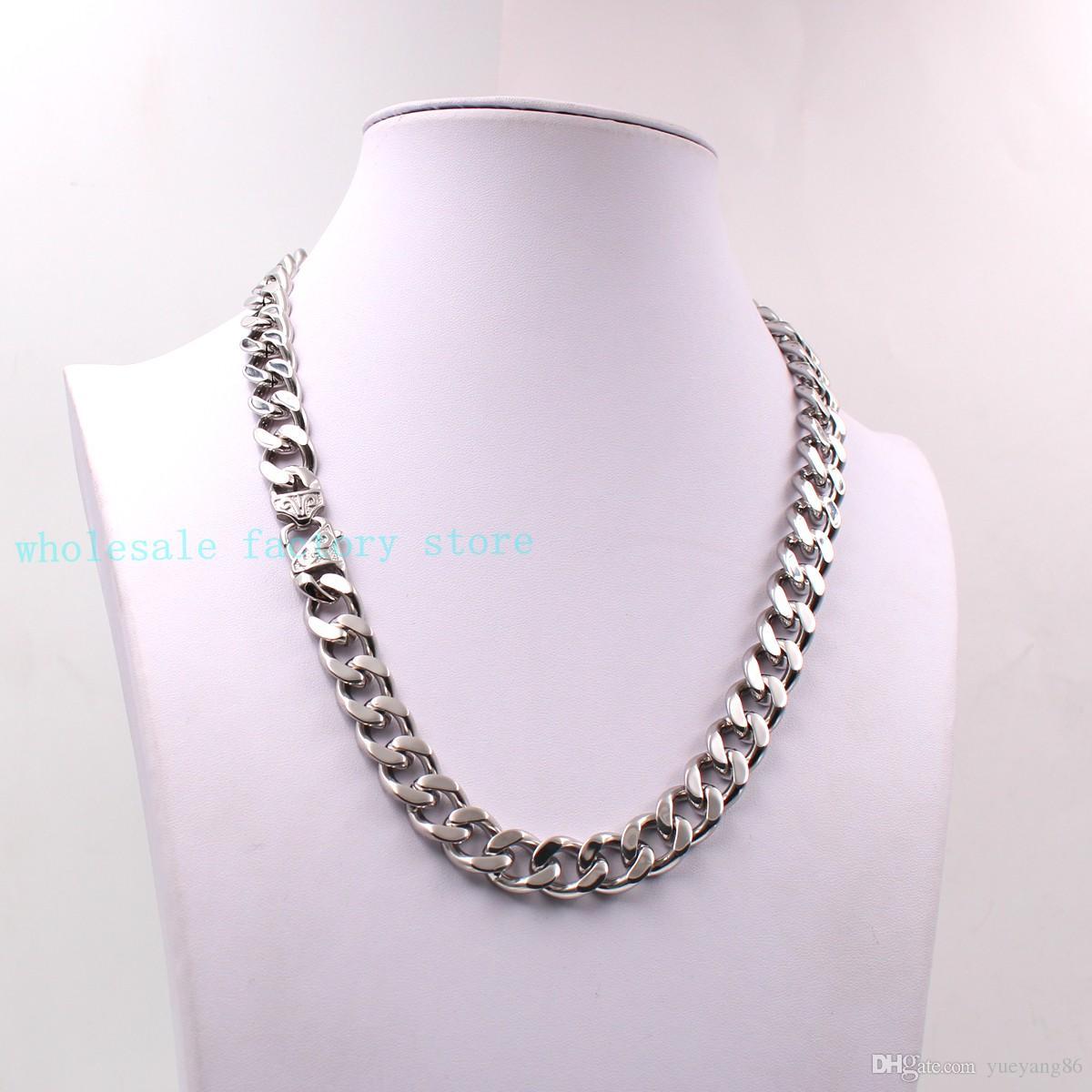 Cadeaux de charme Strong Link 10mm / 15mm Argent énorme Cuban Curb Chain Collier Bracelet Bijoux en acier inoxydable Retro Fermoir