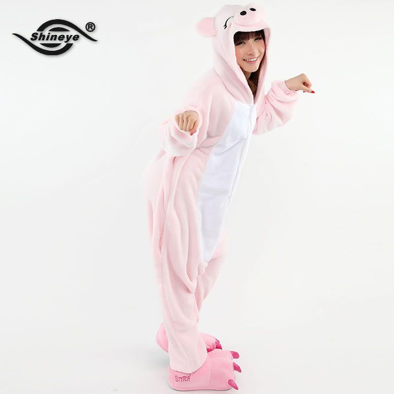 Shineye Lovers Pig Unisex Adults Flannel Hooded Onesies Pajamas Cosplay Cartoon Animal Sleepwear For Women Men