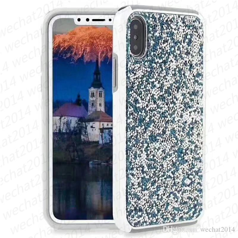 Glitter Bling Shockproof Soft TPU & Electripolating PC Case Cover for iPhone X 8 7 6 6s Plus free DHL