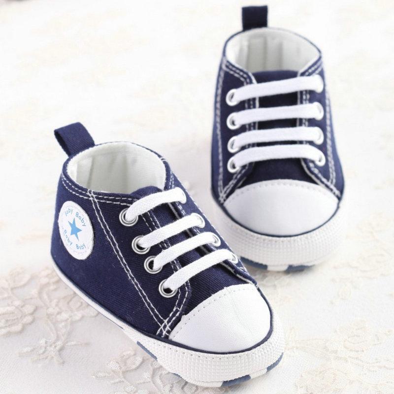 Bebek Ilk Yürüyüşe Ayakkabıları Kanvas Ayakkabılar Bebek Rahat Dantel-Up Spor Katı Bahar Ve Sonbahar Bebek Ayakkabıları