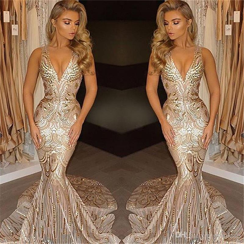2018 New Luxury Gold Prom Dresses Mermaid V Neck Sexy African Prom Gowns Vestidos Special Occasion Dresses Evening Wear
