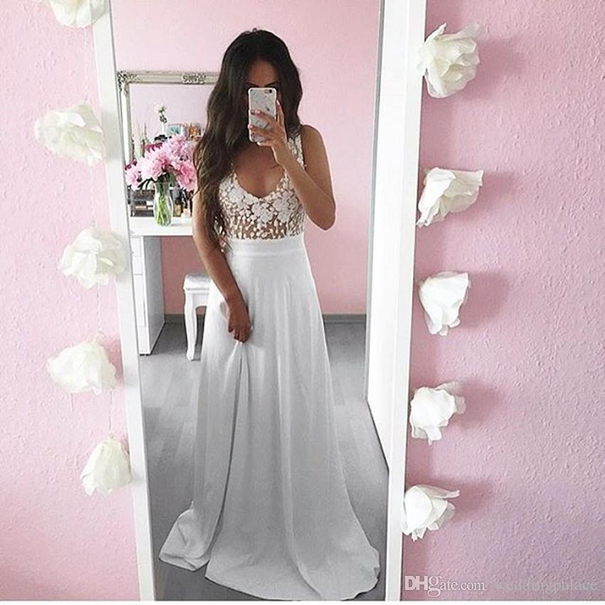 Branco Com Decote Em V de Chiffon Vestidos de Noite Longos Vestidos de Baile Apliques Até O Chão-line Vestidos de Noite Formais Vestido De Noche