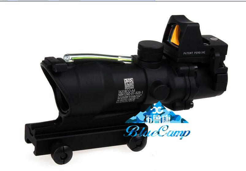 Trijicon TA31 ACOG Style 4X32 Tactique Portée Réelle Fiber Optique Vert Illuminé w / RMR Micro Red Dot Pour La Chasse Lunettes de Chasse