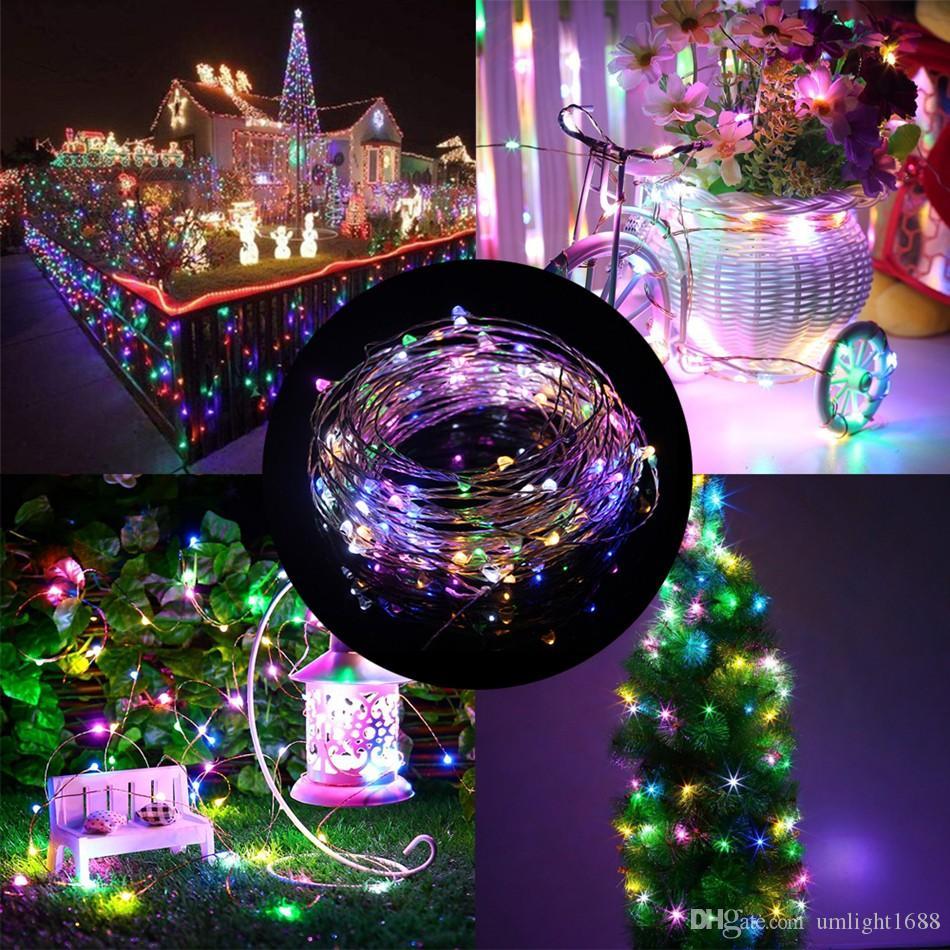 Umlight1688 100X Wasserdicht 2M 3M 5m 50 LED-Kupferdraht LED-String-Weiß AA-Batterie-LED-Schnur-feenhafte Lichter für Weihnachtshochzeitsdekoration