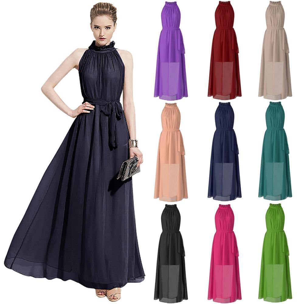 Großhandel Elegantes Chiffon Partei Abend Dame Dress 2017 Sexy ...