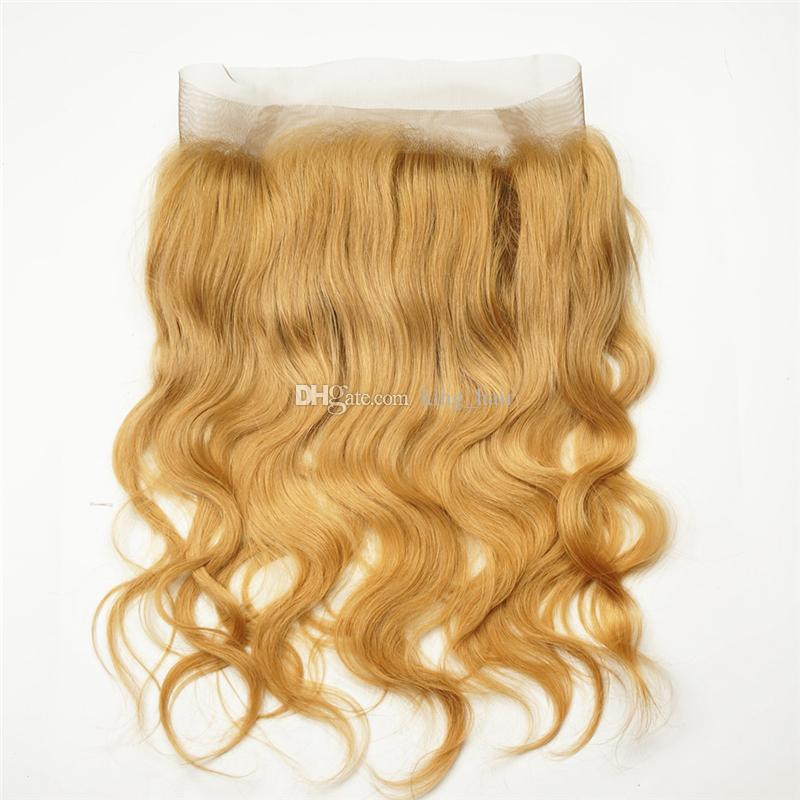 Клубника блондинка #27 объемная волна человеческих волос пучки с 360 полный кружева фронтальная с волосами младенца 4 шт./лот