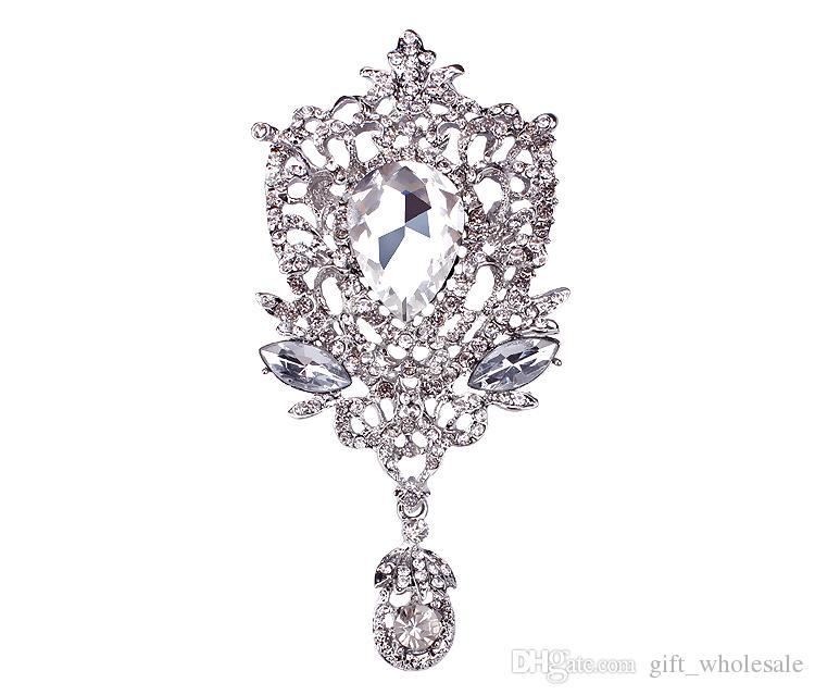 5 * 10,5 cm Große Silber Ton Luxus Waterdrop Pendent Große Kristall Hochzeit Elegante Brosche Mode Kostüm Brosche Für Frauen Bankett Top Qualität