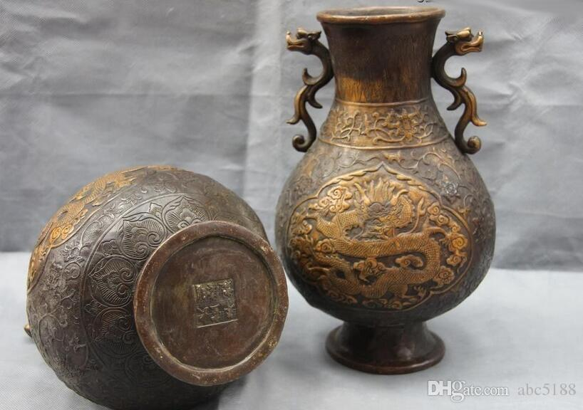 Chinese Royal Palace Copper Bronze Fengshui Dragon Aquarius Bottle Pot Vase Pair