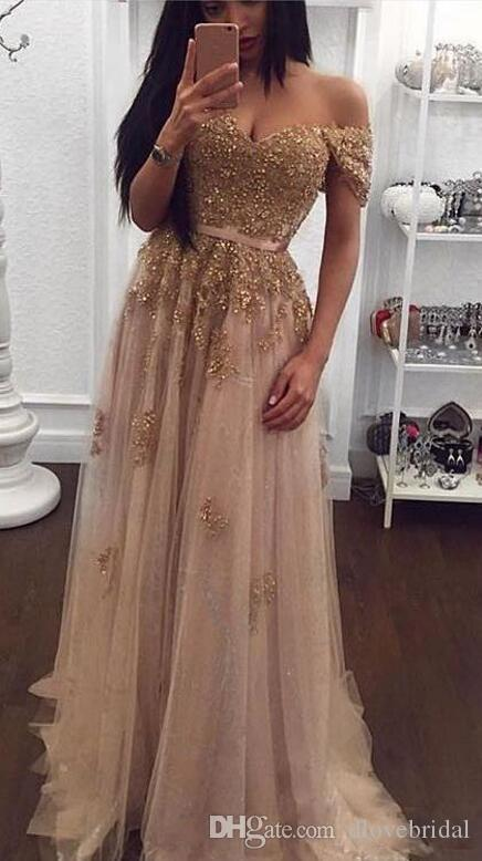 Champagne Lace Beaded Off the Shoulder Arabic Evening Dresses Sweetheart A-line Tulle Prom Dress Vintage Cheap Formal Prom Party Gowns Gown