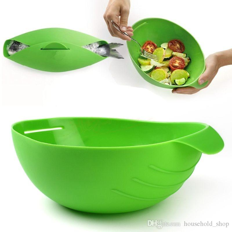 Creative Silicone Fish Cooking Bowls Steam Cooker Baking Bread Vegetable Bowl Basket Kitchen Cooking Tools Dinnerware free shipping