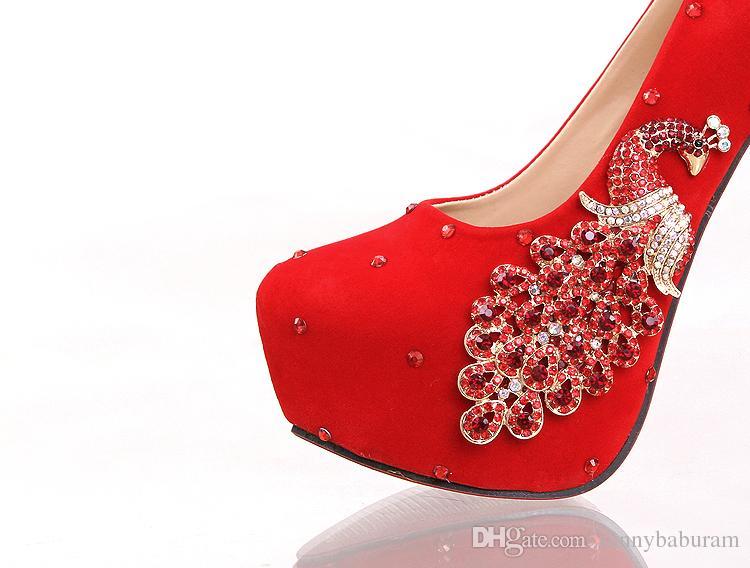 Kırmızı Kadınlar Kristal Gelin Nedime Düğün Ayakkabı Pompaları Püsküller Balo Akşam Gece Kulübü Parti Yüksek Topuklu 8 10 12 14 CM 070