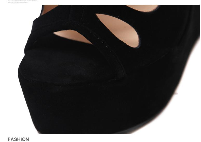 Womens High Platform Wedges Black Peep Toe Hollow Out High Heels Shoes Rome Style Designer Shoes Size 35 To 40