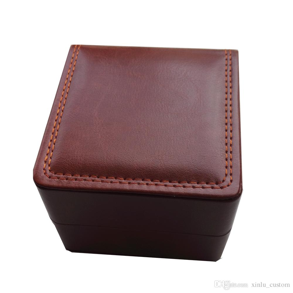 Calidad barata al por mayor LOGOTIPO PERSONALIZADO negro / marrón / rojo de cuero coser almohada interior de terciopelo joyería caja de reloj de pulsera de cuero caja de almacenamiento Bangle