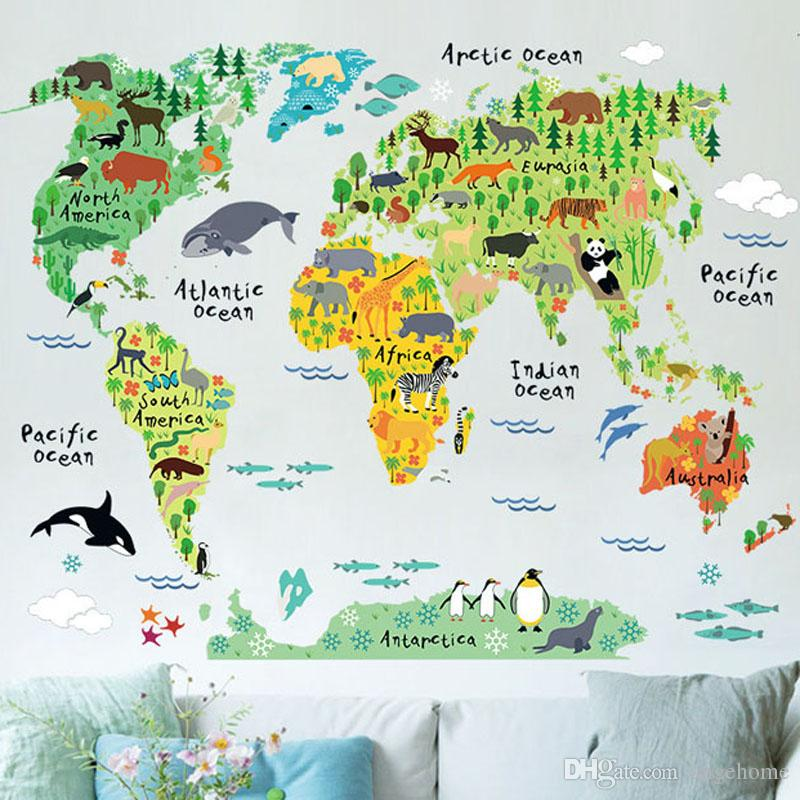 Colorful Animal World Map Wall Stickers For Kids Rooms Living Room - Big world map for wall