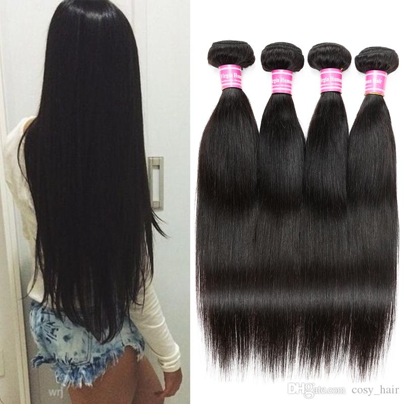 Brazilian Indian Straight Human Hair Unprocessed Brazilian Virgin Straight Human Hair Indian Remy Human Hair Wefts Natural Color by Cosy