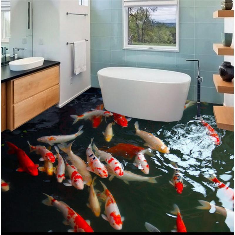 Modern Floor 3d Carp Hd Murals Self Adhesive Waterproof