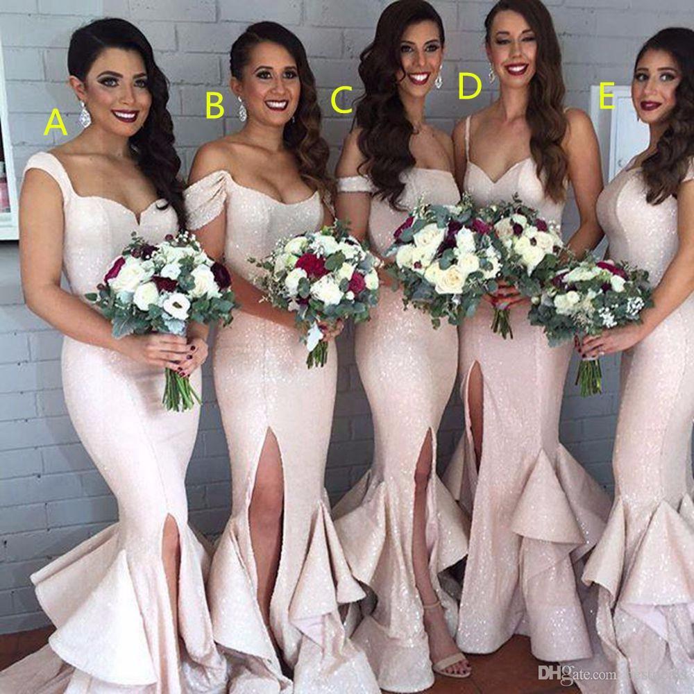 반짝 인어 블러쉬 스팽글 들러리 드레스 슬릿 탱크 라이트 핑크 들러리 가운 계층 뻗 치고 섹시한 신부 들러리 드레스