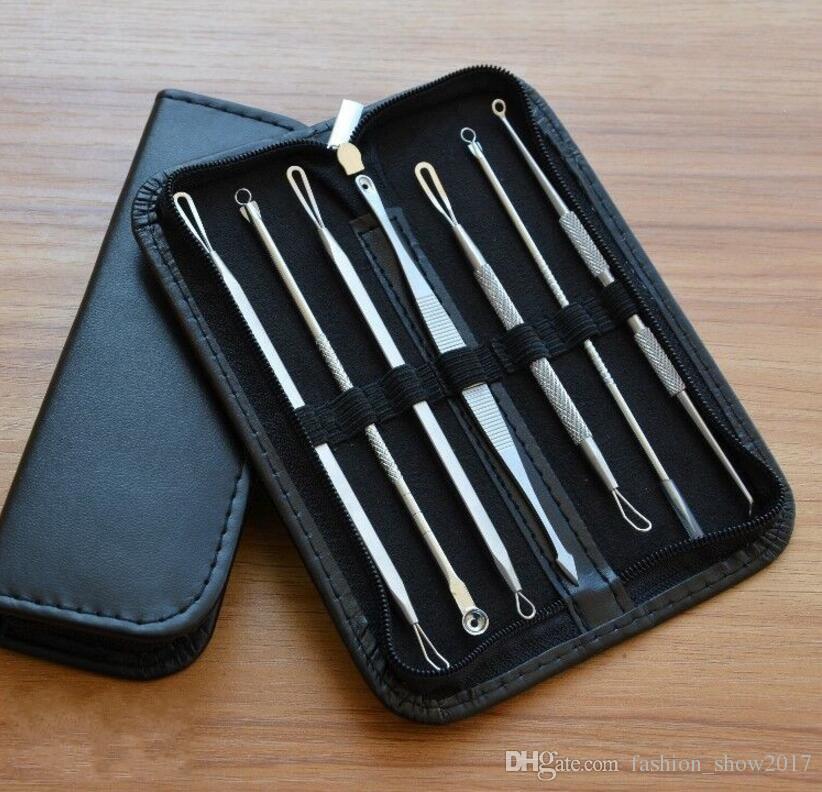 kit di strumenti la rimozione di comedone strumenti la rimozione di brufoli il viso estrattore imperfezioni di acne fermaglio ago pinzetta set strumenti la cura della pelle del viso
