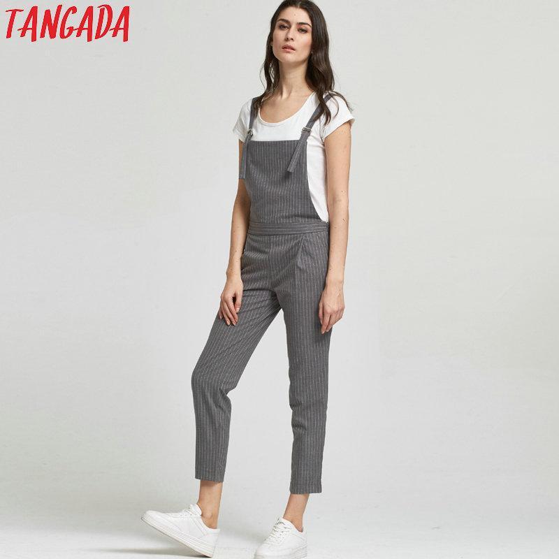 1707a3fceca5 Wholesale- Tangada Fashion Women Gray Striped Print Strap Jumpsuits ...