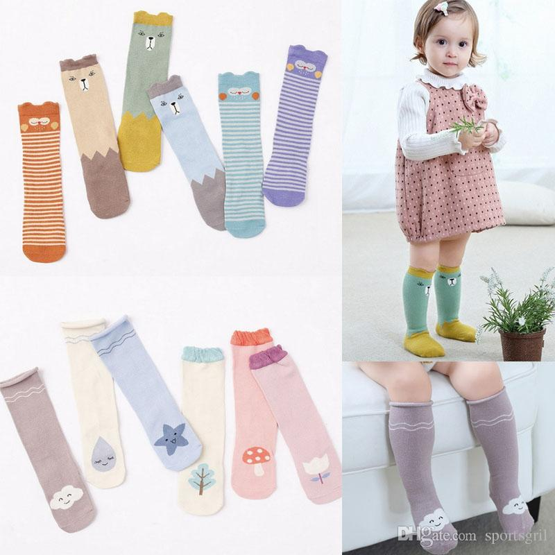 8a6c90ee5 2019 2017 Newest Baby Knee High Socks Toddler Cartoon Bear Owl Star Cloud  Printed High Socks Stockings Kids Lovely Cotton Socks From Sportsgril