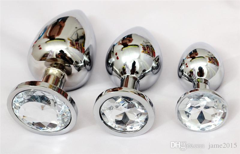 Tamanho pequeno de Aço Inoxidável De Metal Plugue Anal Booty Beads Aço Inoxidável + Cristal Jóias Sex Toys Produtos Adultos Butt Plug Para As Mulheres homem