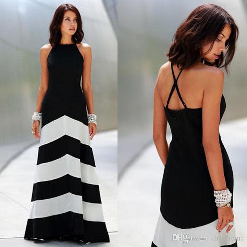 5616eba1a Compre Mais Novo Preto E Branco Listrado Maxi Dress Backless Dress Vestidos  De Verão Vestidos Formais Noite Sexy Mulheres Listras Longo Maxi Vestido De  ...