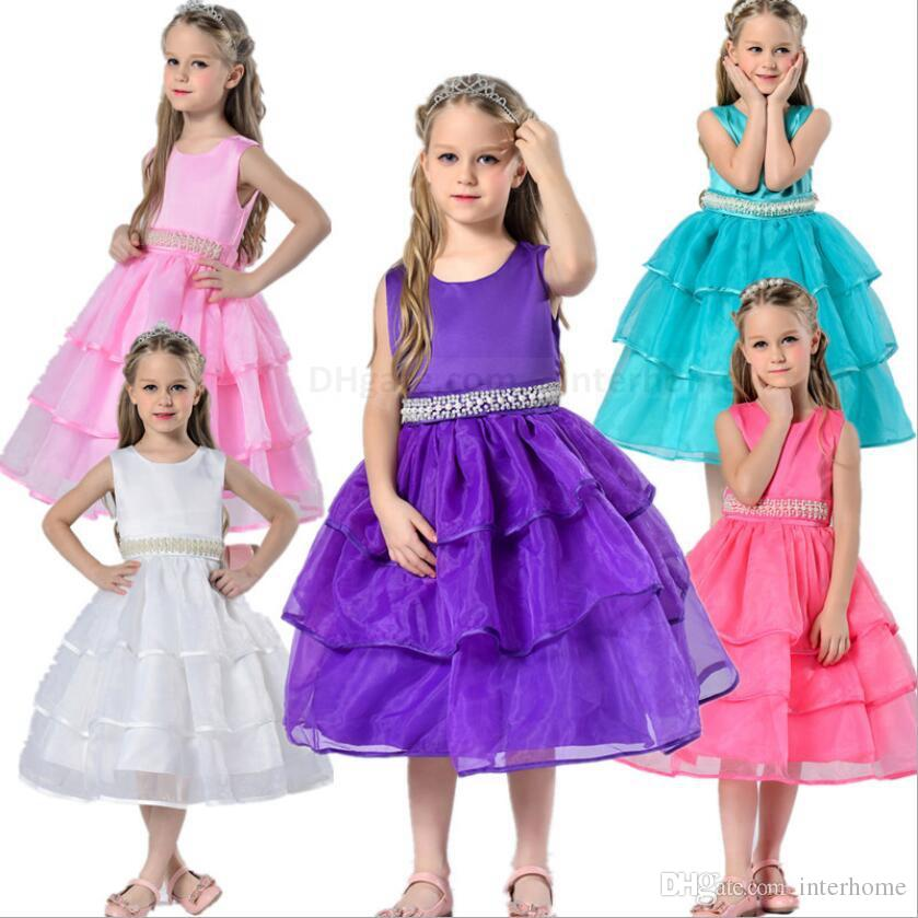 3f60970be9c59 Kids Wedding Bridesmaid Dresses Girls Party Princess Dresses Formal Pageant  Dress Beads Belts Flower Dress Prom Tutu Costumes Clothes B1476