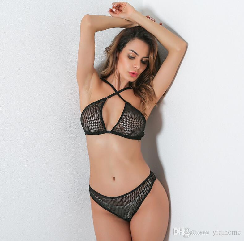 c6b53440b 2019 2019 New Women Underwear Hollow Out Fishnet Halter Bra Sexy Fishing  Net Thong With Garters Latex Sexy Lingerie Set From Yiqihome