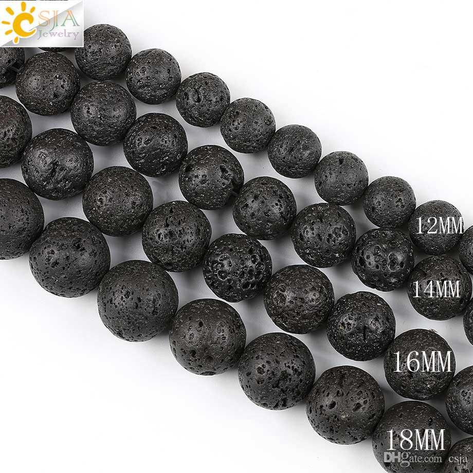 CSJA Free Drop Shipping 12mm Big Round Black Lava Rock Natural Stone Beads for Women Men Necklaces Bracelets Making with String E193 E
