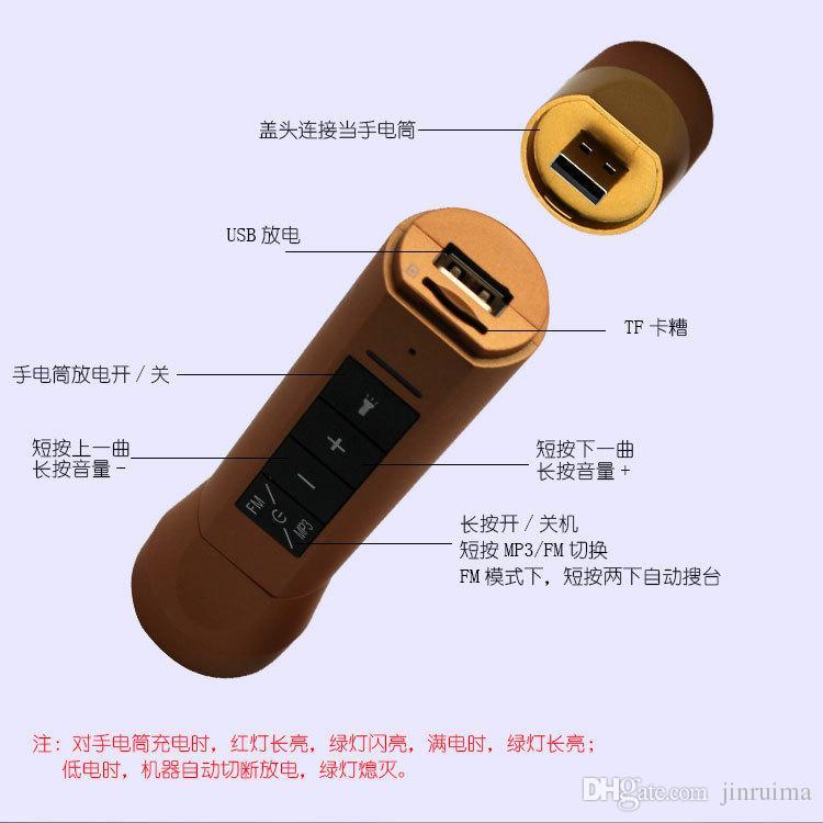 --- Q8 carte extérieure sans fil Bluetooth haut-parleur lampe de poche trois en un audio multi-fonction