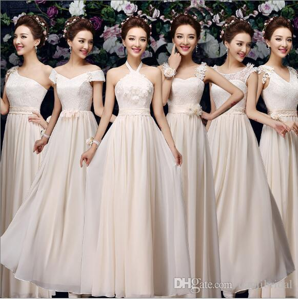 A Line Cheap In Stock Bridesmaid Dresses Sexy Lace Up Chiffon Lace ...