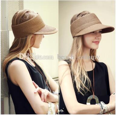 Satın Al Moda Visors Güneş Şapka Geniş Brim Yaz Plaj Şapka Erkekler  Kadınlar Için Ayarlanabilir Saman Kapaklar Sahil Tatil Güneş Kremi Büyük  Katlanabilir ... 09def5babd2