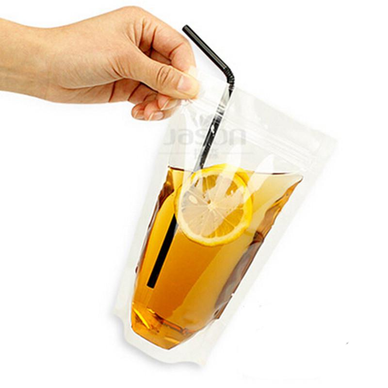 Disposable Clear Plastic Bags Self Sealing Juice Milk Tea Baverage Bag Plastic Drink Packaging Bag Straws Wholesale 50 pcs/lot