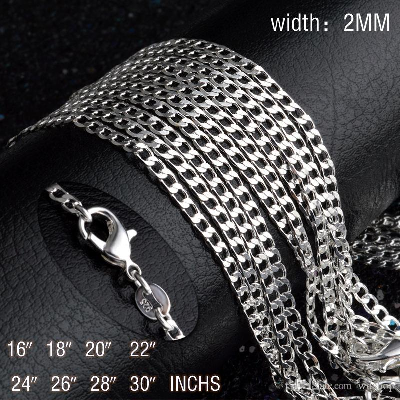 2mm 925 Silver Flat Curb Chains Elegant 16-30 Inches Long Necklace Chain For DIY Clavicle Chain Choker Jewelry Making Accessories