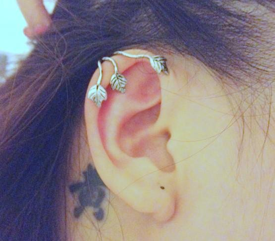 Punk Leaf Ear Cuffs Gothic Antique Silver Gold Tone Ear Bone Clips Gothic Earrings Fashion Womens Jewelry