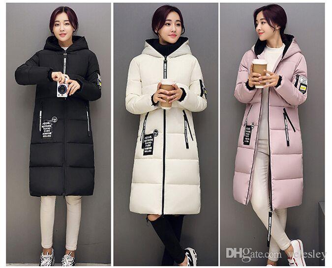 الشتاء النساء سترة معطف رشاقته ضئيلة الإناث مع قبعة المرأة أسفل ستر الشتاء الدافئ قميص ملابس النساء تصميم طويلة
