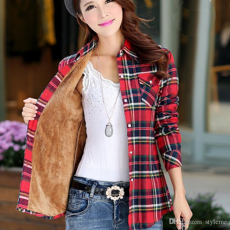 2019 Thick Flannel Winter Women Blouse 2017 Autumn New Fashion Warm