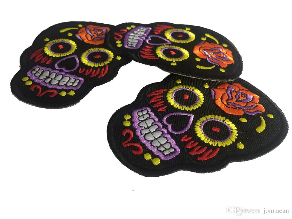 Personality Tribal Tattoo Sugar Day Of Dead Skull Embroidery Iron On Sew On Patch Rockabilly Biker Patch DIY Applique Embroidered Emblem
