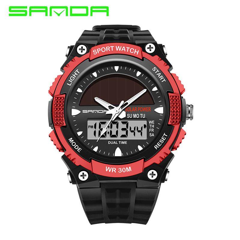 858f278e66a2 Compre Sanda Relojes Hombres A Prueba De Agua Energía Solar Deportes Casual Reloj  Hombre Relojes Para Hombres 2 Zona Horaria Digital Cuarzo Reloj Led ...