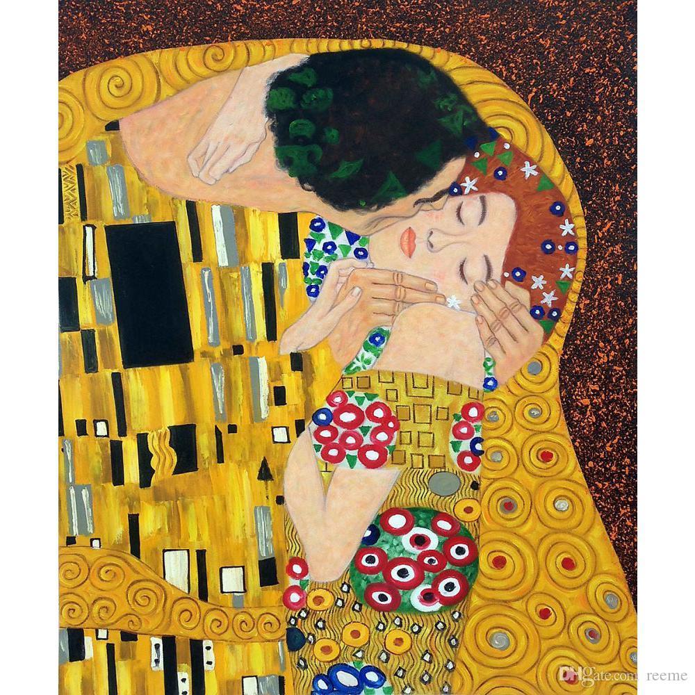 Compre Famoso Gustav Klimt El Beso Detalles Pintado A Mano Pinturas ...
