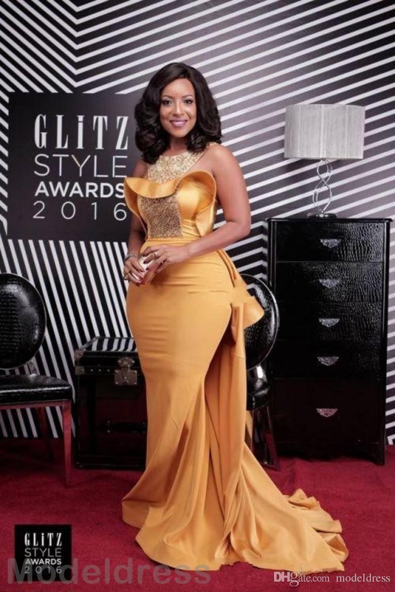 2020 African Gold Mermaid Abendkleider mit Over-Rock-Juwel Sweep Zug Pailletten Perlen formale Abschlussball-Partei-Kleider für besondere Anlässe Kleid