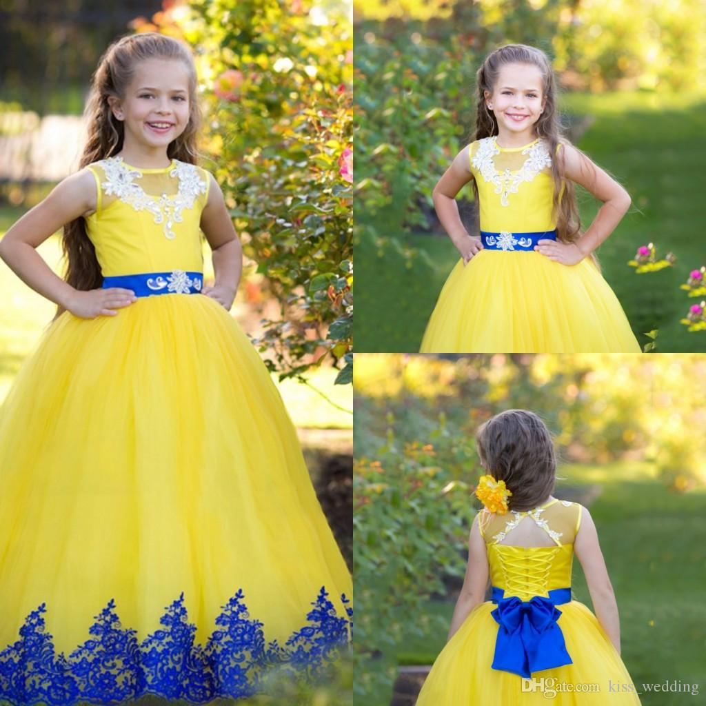 Hot Selling Long Flower Girl Dresses With Sash Bow Lace Yellow