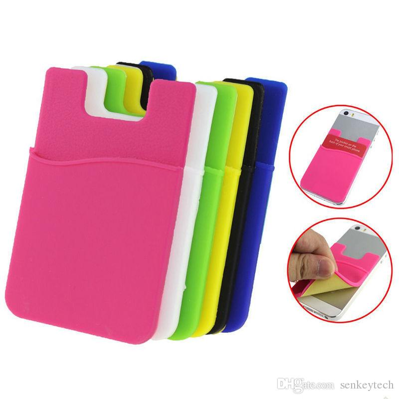 Silicone phone card holder adhesive business card holder stick on silicone phone card holder adhesive business card holder stick on wallet phone card holder stick on cell phone accessories wholesale mobile phone colourmoves