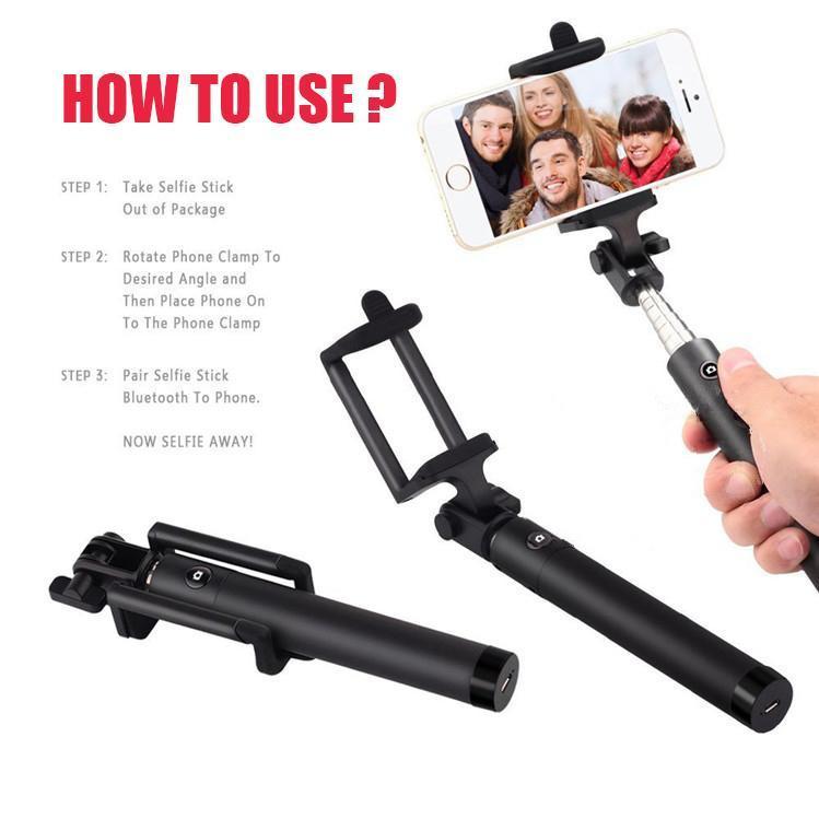 Bluetooth inalámbrico Selfie Stick de mano plegable monopod bluetooth obturador control remoto para iphone Samsung HTC con caja al por menor