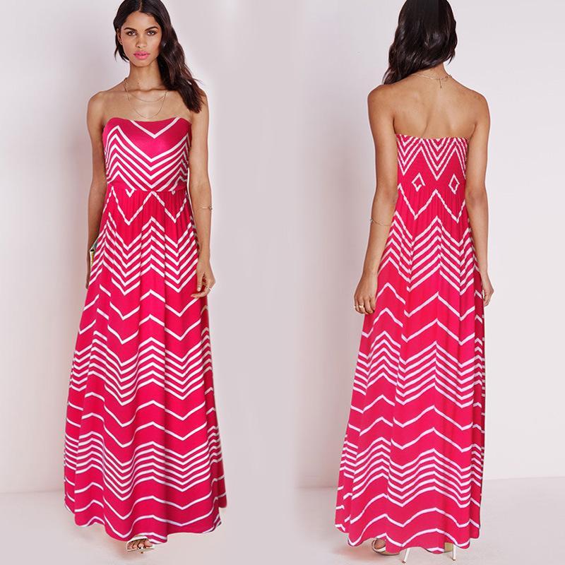 Pink Wavy Maxi Beach Dress/Qianqianliu Fashion Beach Dress Evening ...