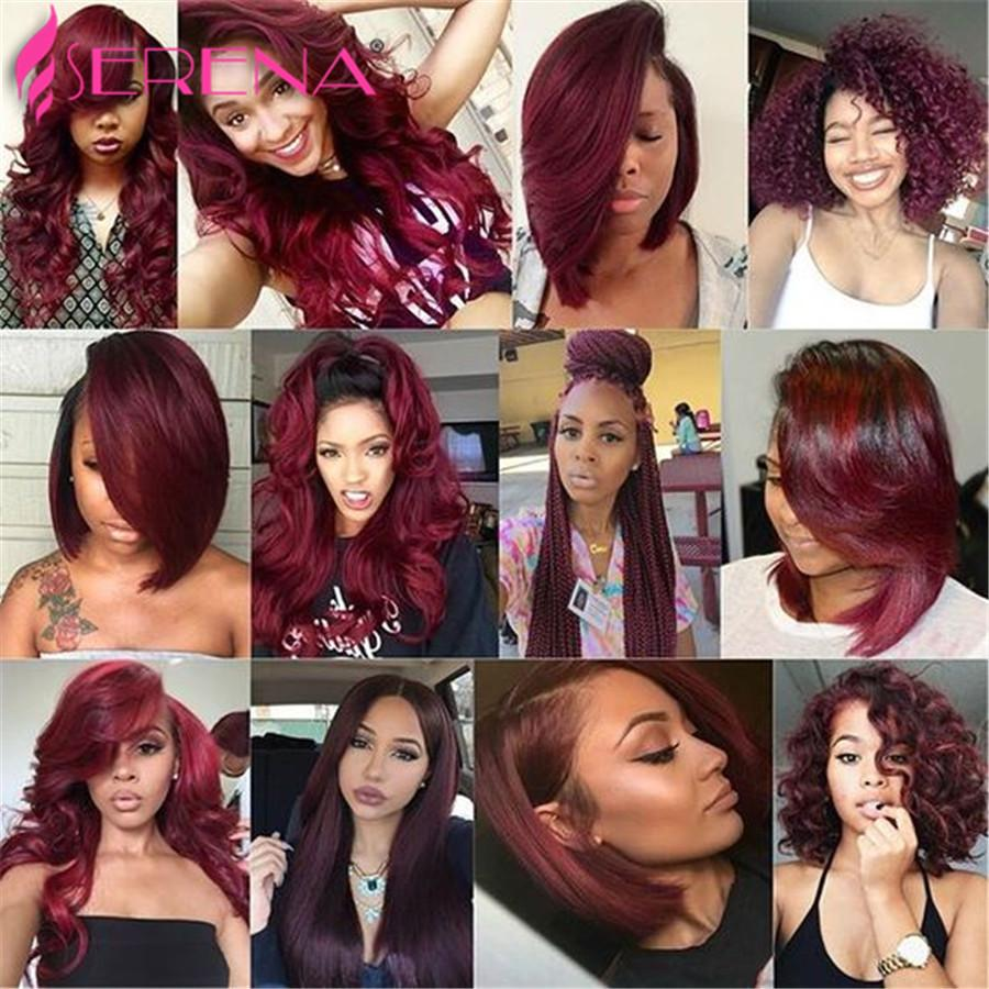 Burgundy Peruvian Loose Wave 4 Bundles Burgundy Human Hair Weave Bundles Red Wine 99J Virgin Hair With 4x4 Lace Closure