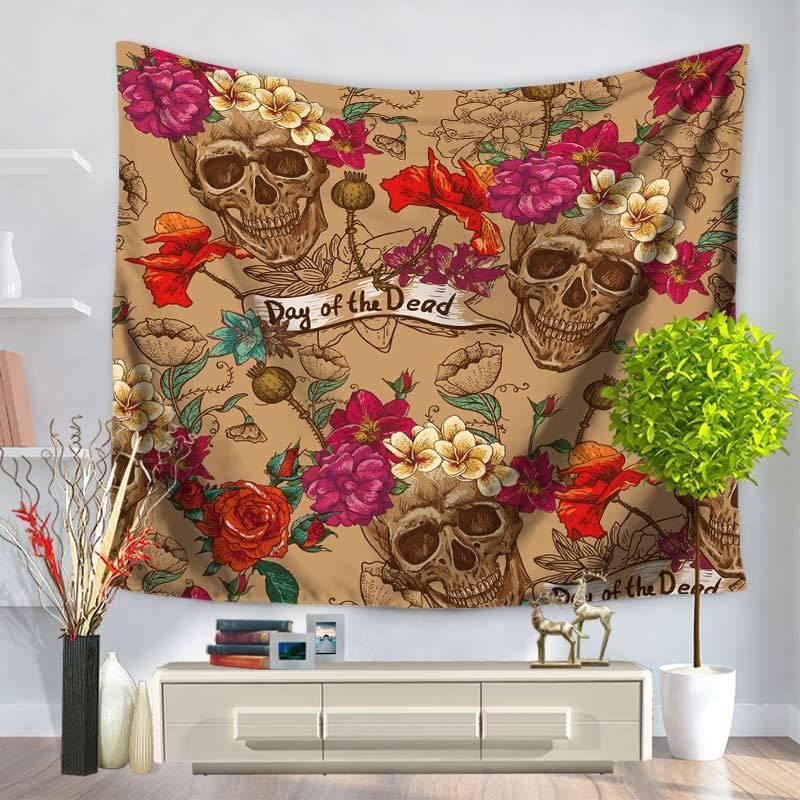Cool Wall Hangings 100% polyester wall hanging tapestry cool skull flower skull home